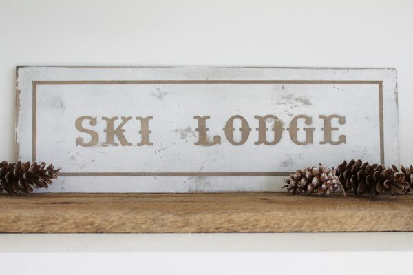Handmade ski lodge sign