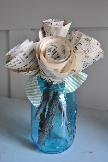 vintage music sheet flowers