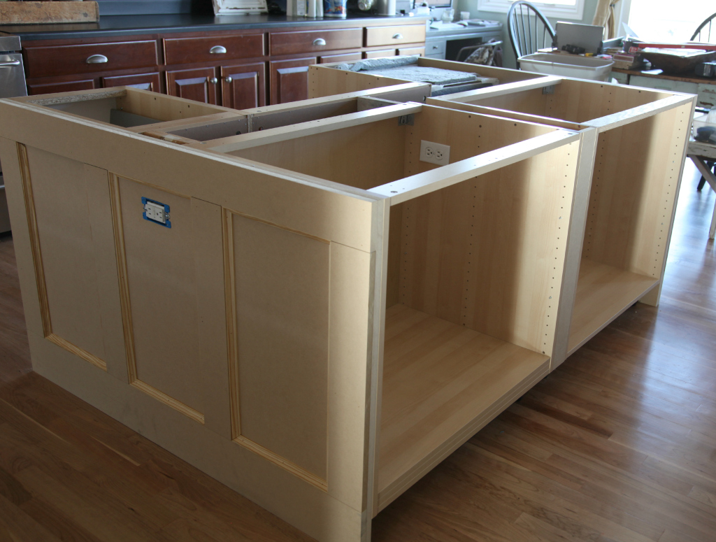 Ikea hack how we built our kitchen island jeanne oliver for Built in kitchen islands