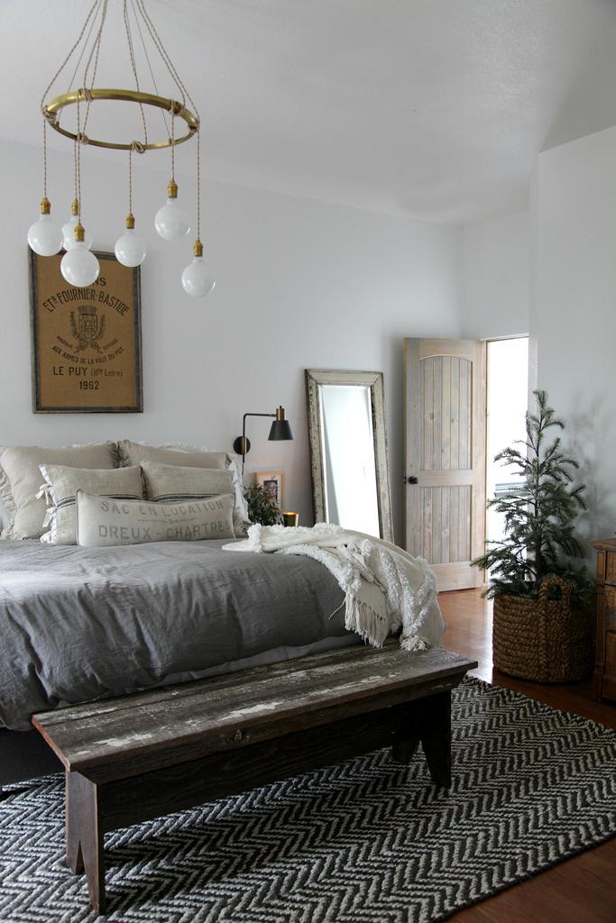modern farmhouse bedroom simple  christmas  jeanne oliver
