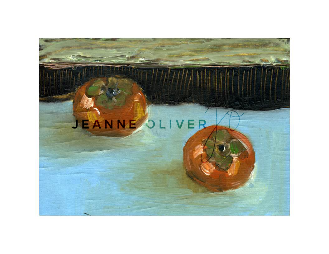 Persimmons landscape by Jeanne Oliver