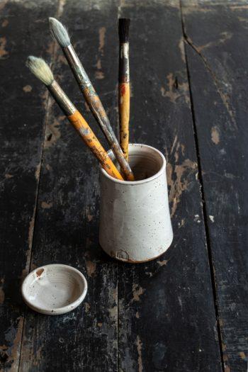 Pottery Brush Holder